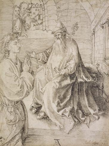 Youth Kneeling before a Potentate, 15th Century Lámina giclée