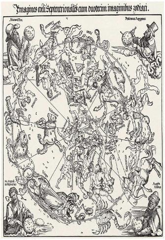 Albrecht Durer (Star map, the northern sky) Art Poster Print Poster