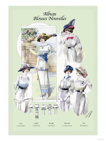 Album Blouses Nouvelles: Ladies in Flowered Hats Art Print