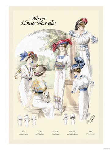 Album Blouses Nouvelles: Ladies in Patterned Dresses Art Print