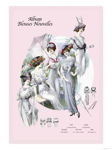 Album Blouses Nouvelles: With Hats and Parasols Art Print