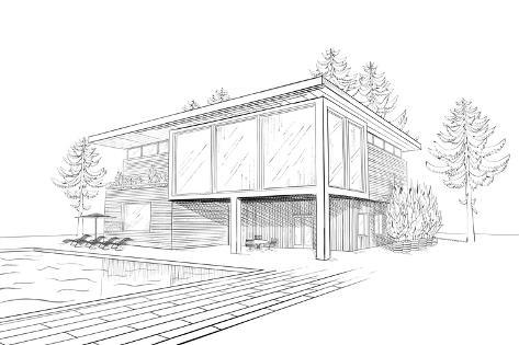 Merveilleux Sketch Of Modern House With Swimming Pool
