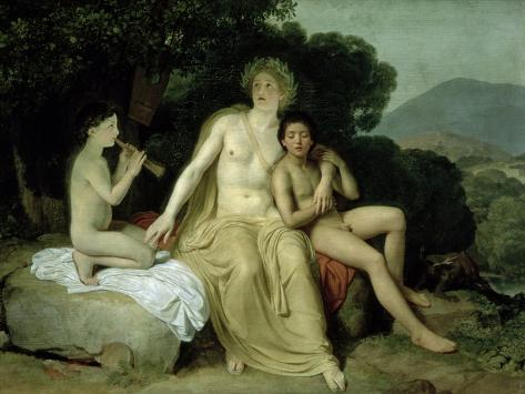 Apollo with Hyacinthus and Cyparissus Singing and Playing, 1831-34 Giclee Print