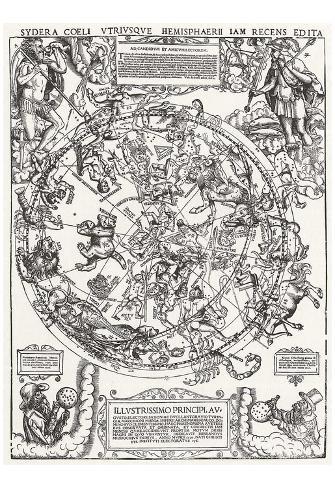 Alemán Champion de 1558 (Mapa de Norteño cielo ) Art Poster Print Póster