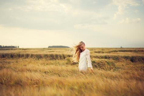 Beautiful Blonde Walks into the Field Photographic Print
