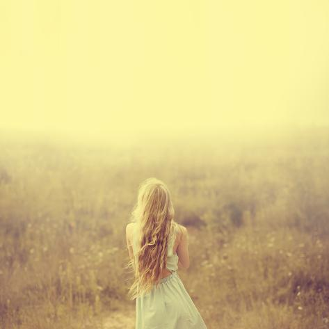 Beautiful Young Blond Woman Enjoying the Fabulous Nature Photographic Print