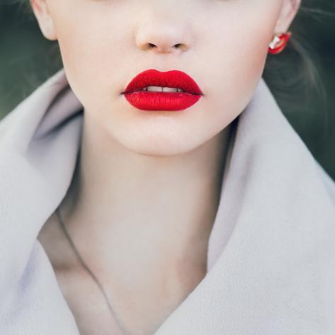 Face of a Beautiful Girl with Red Lips Photographic Print