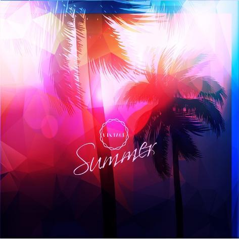 Paradise Island-Palm Tree Sunset Stampa artistica