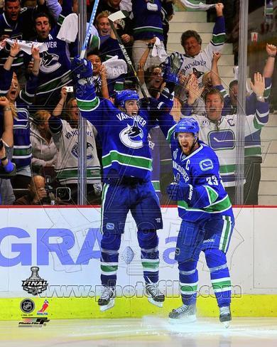 Alex Burrows & Henrik Sedin Celebrate Winning Game 2 of the 2011 NHL Stanley Cup Finals(#14) Photo