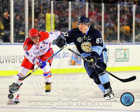 Alex Ovechkin & Sidney Crosby 2011 NHL Winter Classic Action Photo