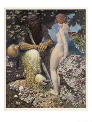 Pan is Consulted by Psyche Concerning Her Relationship with Cupid Stampa giclée