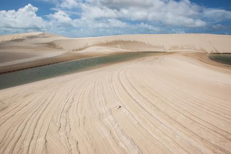 A Sand Dune and Lagoon in Brazil's Lencois Maranhenses National Park Photographic Print