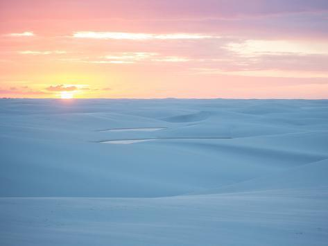 Brazil's Lencois Maranhenses National Park Sand Dunes and Lagoons at Sunset Photographic Print