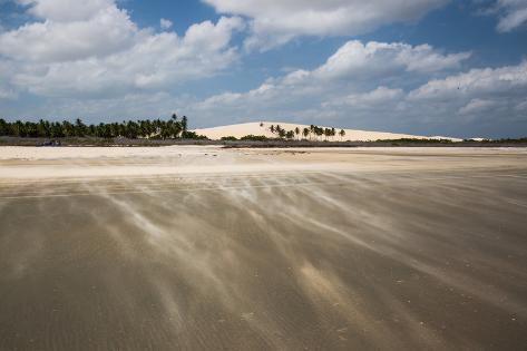 Sand Blowing over a Desert-Like Beach in Jericoacoara, Brazil Impressão fotográfica