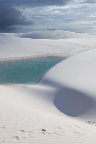 The Lencois Maranhenses Sand Dunes and Lagoons at Sunset in Maranhao State, Brazil Impressão fotográfica