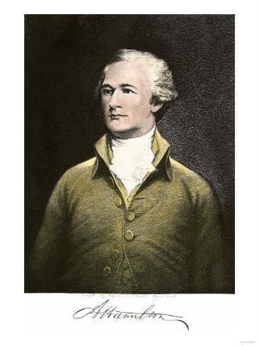 Alexander Hamilton, with His Autograph Giclee Print