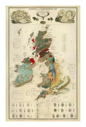 Composite: Geological and Palaeontological Map of the British Islands, c.1854 Art Print