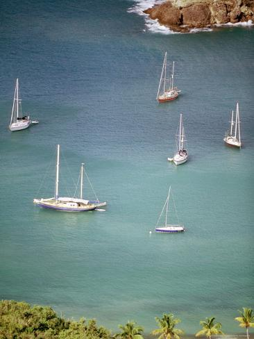 Yachts Anchor in British Harbor, Antigua, Caribbean Fotoprint