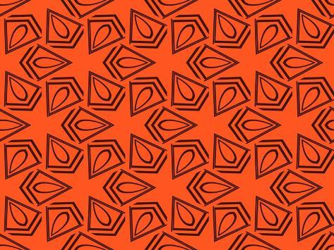 Abstract Geometric Seamless Pattern. Vector. Orange Premium Giclee Print