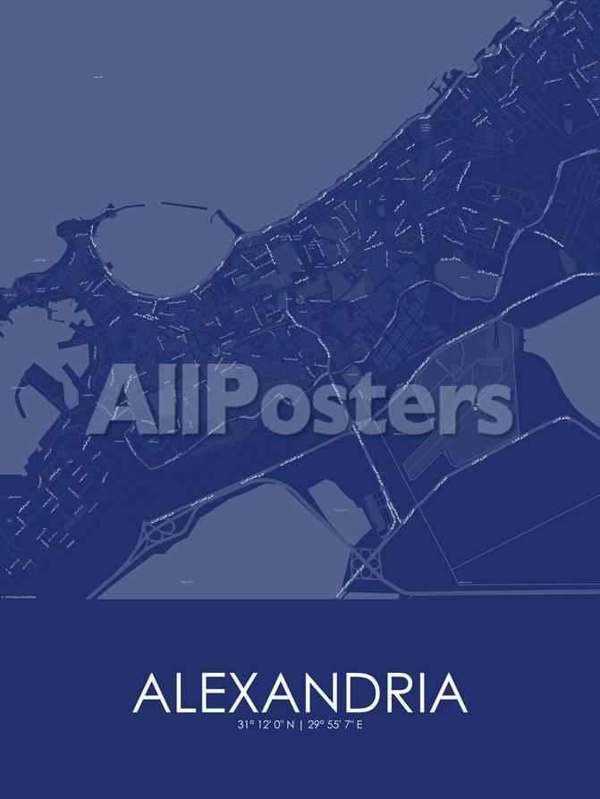 Alexandria Egypt Blue Map Prints At Allposters Com