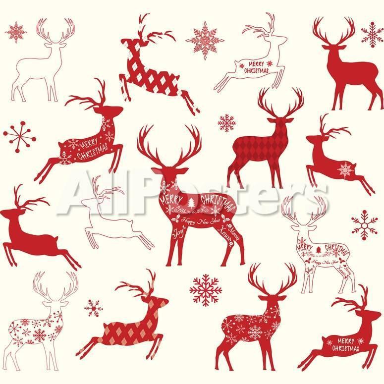 Christmas Reindeer.Merry Christmas Reindeer Reindeer Silhouette Collections