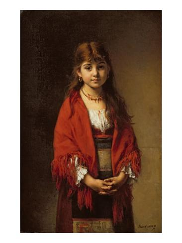 A Peasant Girl in a Red Shawl Giclee Print