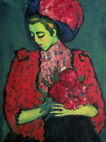 Young Girl with Peonies, 1909 Giclee Print