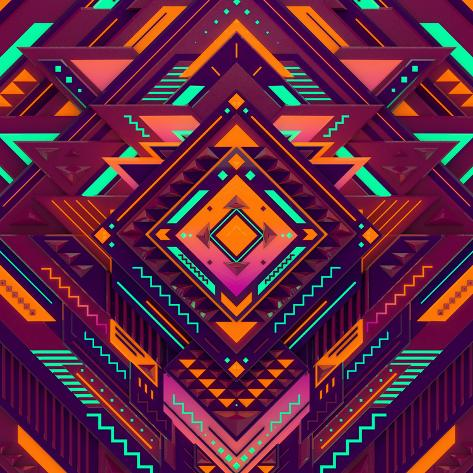 Futuristic Colorful Pattern. Triangles, Diamond and Sharp Angles. Photographic Print