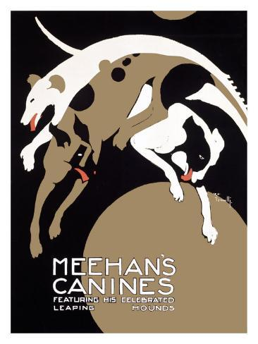 Meehans Leaping Hound Dog Circus Giclee Print