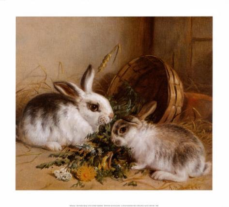 Bunnies' Meal II Art Print