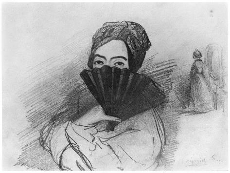 Portrait of George Sand (1804-76) Behind Her Fan Giclee Print