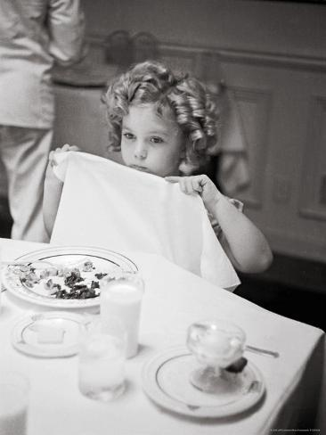 Child Actress Shirley Temple Celebrating Her Eighth Birthday on 20th Century Fox Lot Premium Photographic Print