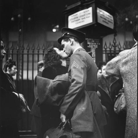 Couple in Penn Station Sharing Farewell Kiss Before He Ships Off to War During WWII Photographic Print