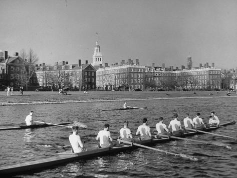 Crew Rowing on Charles River across from Harvard University Campus Photographic Print