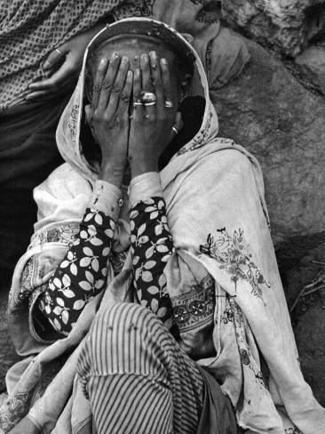 Ethiopian Woman Covering Her Face with Her Hands Photographic Print