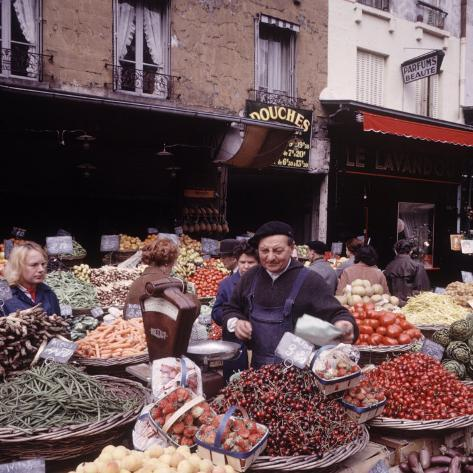 Fruits, Vegetables, Meat, Polutry, and Flowers Sold in Rue Mouffetard Market, Quartier Latin Photographic Print