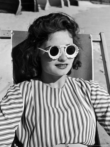 Model Stephanie Nikashian Sporting Sunglasses with