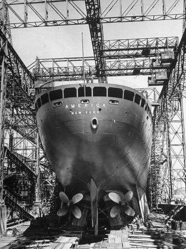 Ocean Liner America in Shipyard Prior to Launch Photographic Print