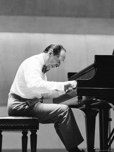 Pianist Vladimir Horowitz Rehearsing Before a Concert Premium Photographic Print