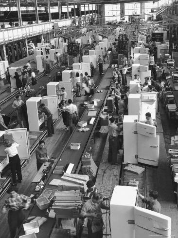 Refrigerators on Assembly Line at General Electric Plant Photographic Print