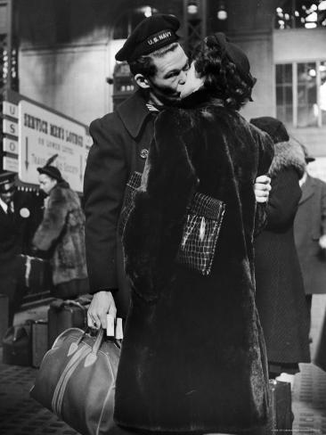 Sailor Kissing His Girlfriend Goodbye before Returning to Duty, Pennsylvania Station Photographic Print