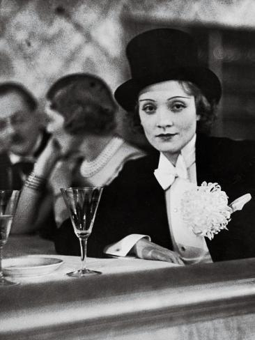 Singer Actress Marlene Dietrich Wearing Tuxedo and Top Hat at Ball for Foreign Press Premium Photographic Print