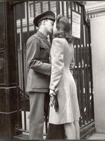 Soldier Kissing His Girlfriend Goodbye in Pennsylvania Station Before Returning to Duty Photographic Print