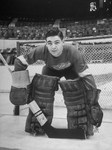 Terry Sawchuck, Star Goalie for the Detroit Red Wings, Posing in Front of Goal at Ice Arena Premium Photographic Print