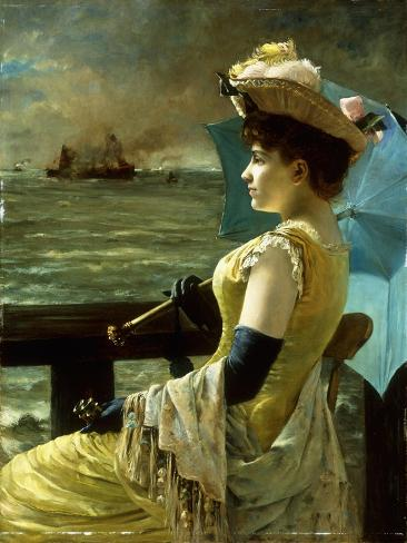 A Lady with a Parasol Looking Out to Sea Stampa giclée