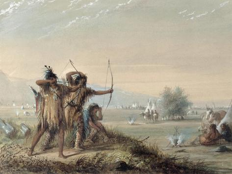 Snake Indians Testing Bows, 1837 Stampa giclée