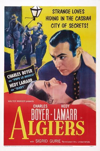 Algiers, from Left: Hedy Lamarr, Charles Boyer, 1938 Art Print
