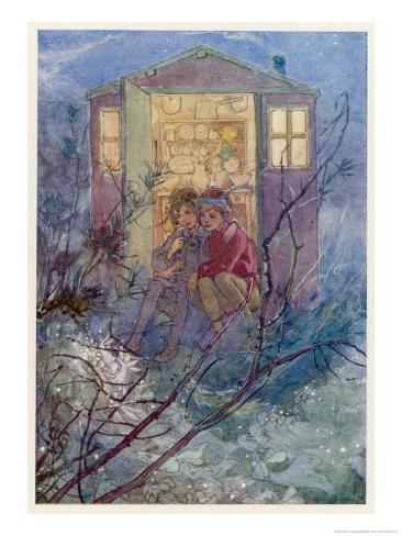 Peter Pan and Wendy Sit on the Doorstep of the Wendy House Giclee Print