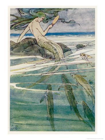 Peter Pan, Mermaid on a Rock Giclee Print
