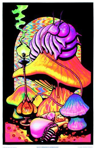 Alice in Wonderland Dreaming Flocked Blacklight Poster Art Print Mustavalojuliste